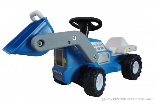 Babyrutscher Traktor blau mit Frontschaufel