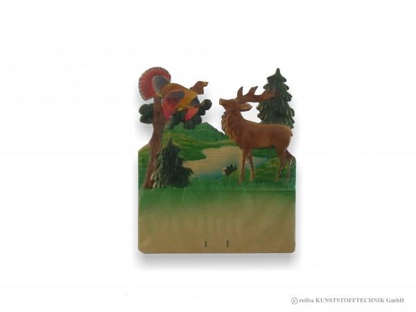 Kalenderrückwand geprägt Hirsch mit Auerhahn