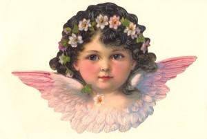 Aufstellschmuckkarte rosa Engel
