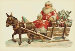 Aufstellschmuckkarte Weihnachtsmann mit Esel