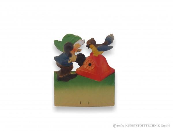 Kalenderrückwand geprägt Zwerg mit Telefon & Vogel