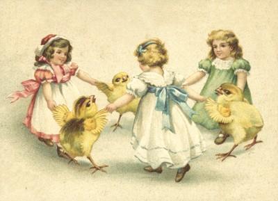 nostalgische Präge - Postkarte - Kinder - Küken -