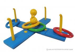 Balkenwurfspiel Kreuz mit Ente
