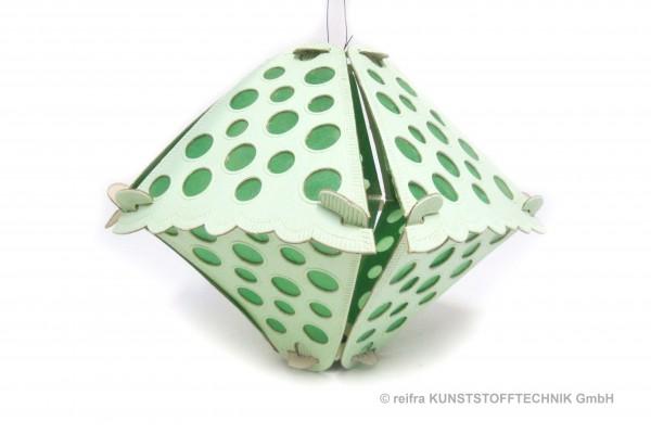 Klapplaterne grün 5-teilig,  34x28 , grüne Punkte