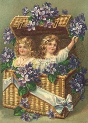 nostalgische Präge - Postkarte - 2 Kinder im Bastk