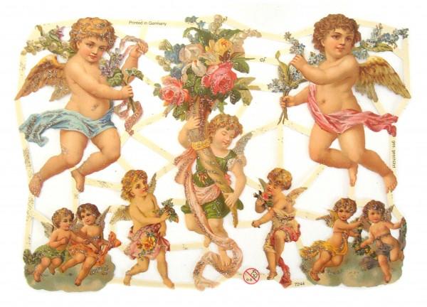 Glanzbilder, Engel m. Blumen u. Glitter