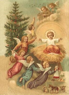 nostalgische Präge - Postkarte - Jesus umgeben von