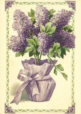 nostalgische Präge - Postkarte - Flieder im Blumen