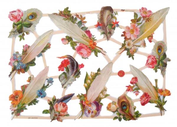 Glanzbilder, Blumen mit Federn