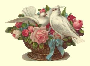 Aufstellschmuckkarte Taube im Rosenkorb