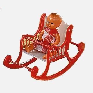 Plastik-Schaukelstuhl klein in rot mit Puppe