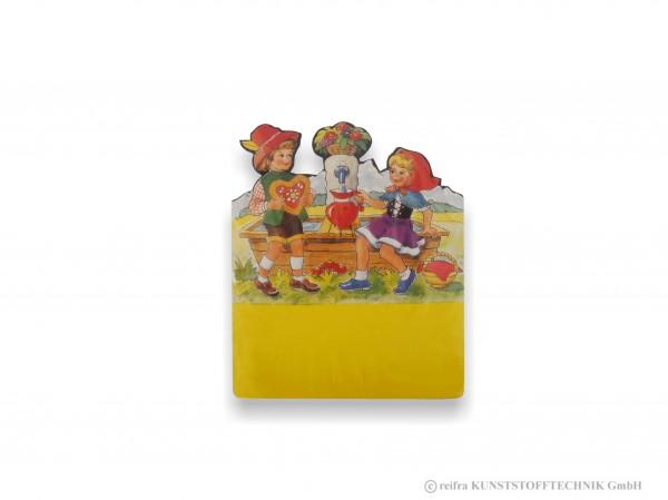 Kalenderrückwand, gedruckt Mädchen & Junge