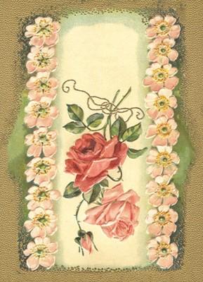 nostalgische Präge - Postkarte - Edelrosen im Wild