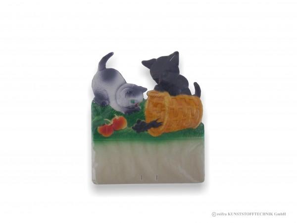 Kalenderrückwand geprägt Katzen jagen Maus