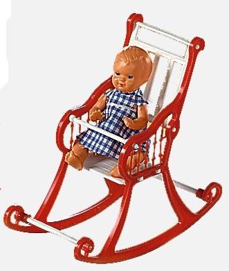 Plastik-Schaukelstuhl groß in rot mit Puppe