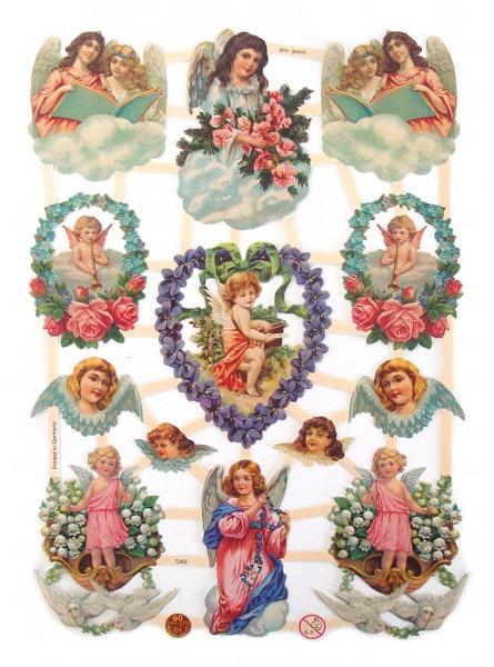 Glanzbilder, Engel mit Blumen
