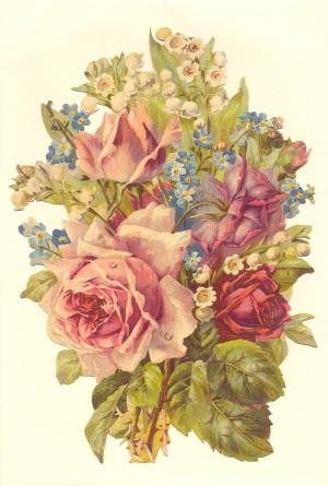 Aufstellschmuckkarte Strauß mit 4 Rosen