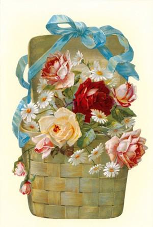 Aufstellschmuckkarte Blumen Bastkorb