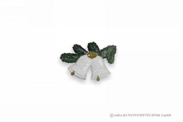 Weihnachtsschmuck 2 kleine Glocken-weiß- am Zweig