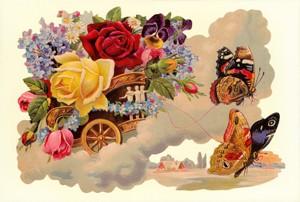 Aufstellschmuckkarte Schmetterling im Wagen