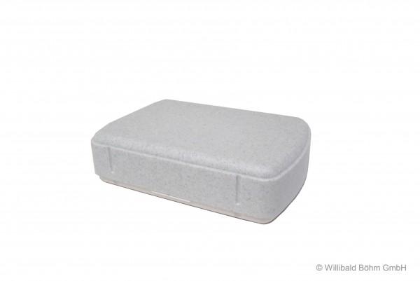 Brotdose, rechteckig, granit-weiß