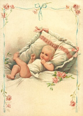 nostalgische Präge - Postkarte - Baby im rosa Bett