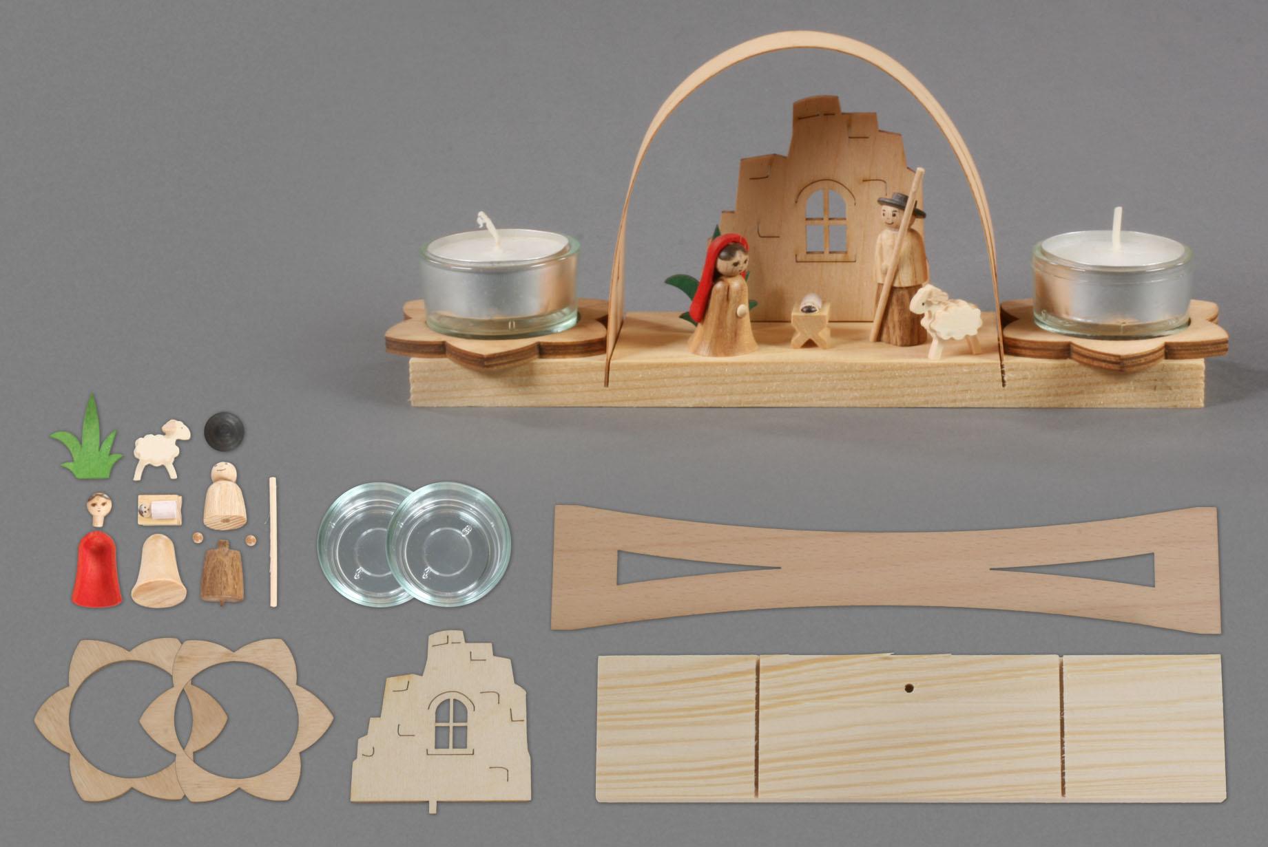 bastelsatz teelicht schwibbogen bastelsets aus holz weitere spielwaren online shop. Black Bedroom Furniture Sets. Home Design Ideas