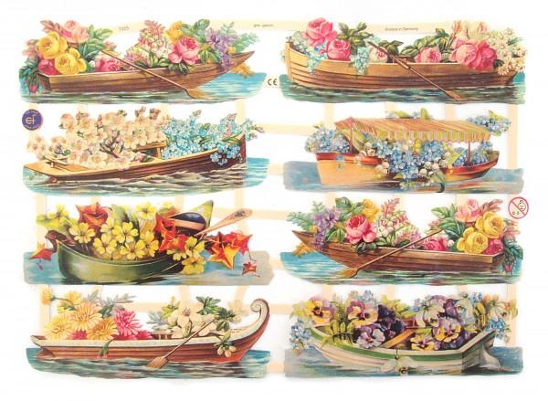 Glanzbilder, Boote mit Blumen