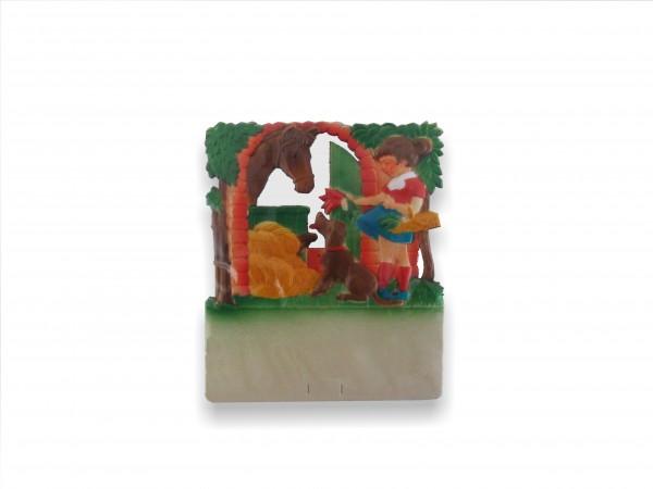 Kalenderrückwand geprägt Mädchen füttert Pferd