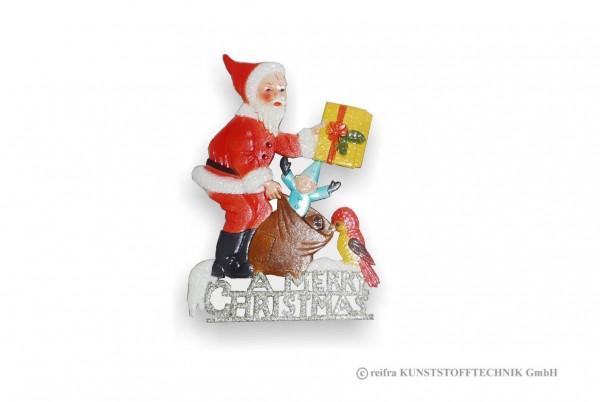 Fensterbild 16 x 23 cm, Weihnachtsmann m. Geschenk