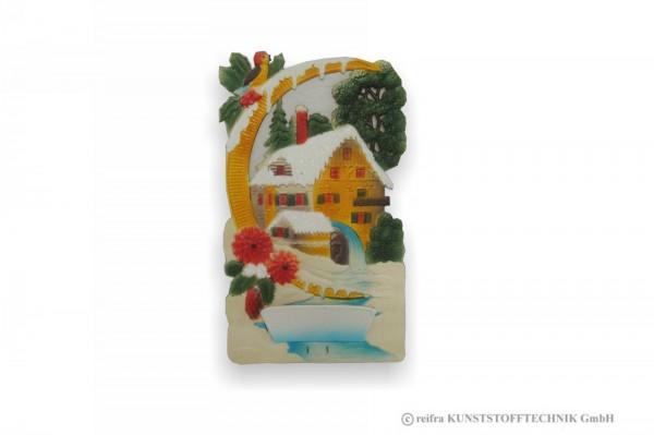Wandtasche 19 x 32 cm, Haus mit Wasserrad, Pappe