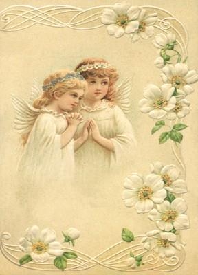 nostalgische Präge - Postkarte - 2 betende Engel