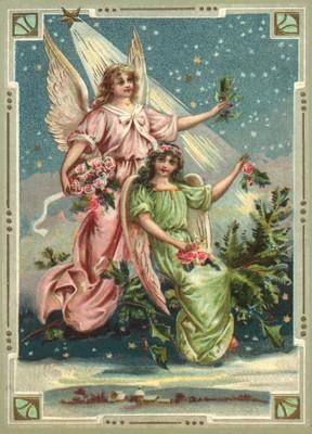 nostalgische Präge - Postkarte - 2 Engel mit rosa