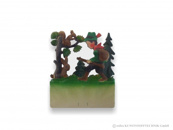 Kalenderrückwand geprägt Jäger mit Hase