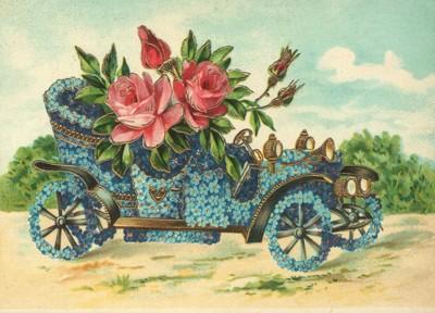 nostalgische Präge - Postkarte - Oldtimer aus Blum