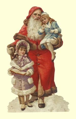 Aufstellschmuckkarte Weihnachtsmann mit 2 Mädchen