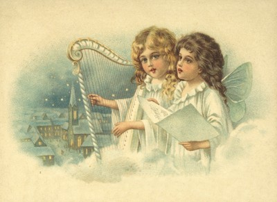 nostalgische Präge - Postkarte - 2 musizierende En
