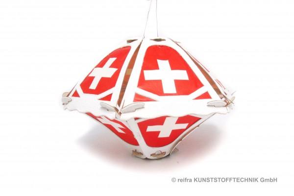 Klapplaterne 6-teilig weiß, 29x24cm, rot,mit Kreuz