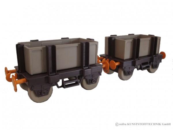 Waggons Kindereisenbahn, braun/ beige/ orange
