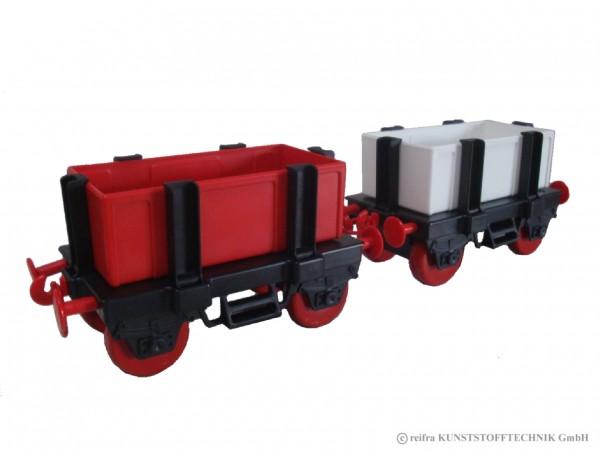 Waggons für Kindereisenbahn, schwarz/ rot/ weiß