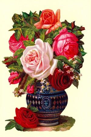 Aufstellschmuckkarte Rosen in Vase