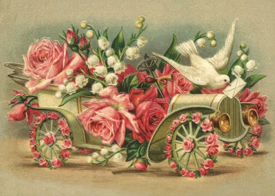 nostalgische Präge - Postkarte - Rosen mit Taube i