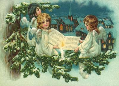 nostalgische Präge - Postkarte - 3 singende Engel