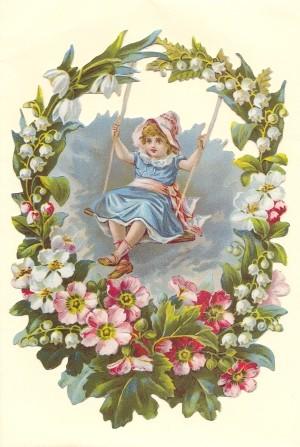 Aufstellschmuckkarte Blumenkranz mit 1 Kind