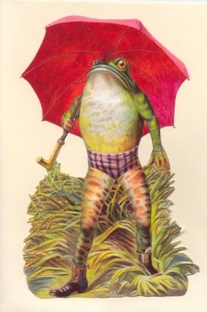 Aufstellschmuckkarte Frosch mit Schirm