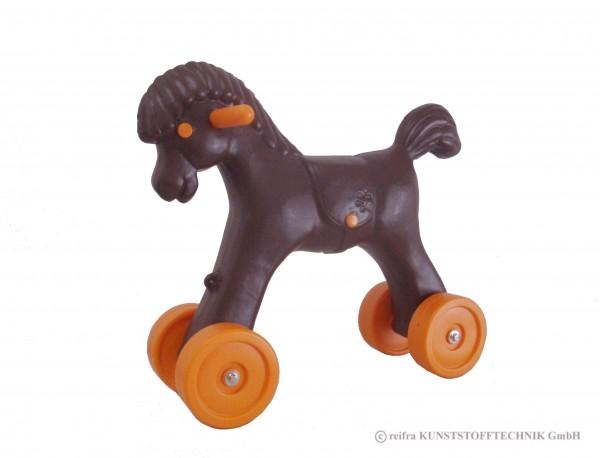 Pferd auf Rädern, braun