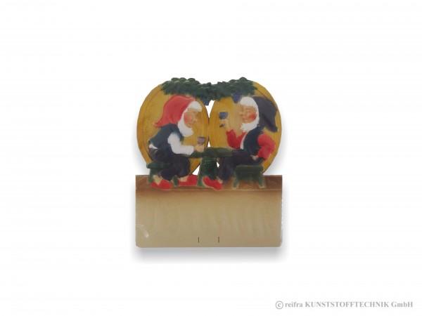 Kalenderrückwand geprägt Zwerge am Weintisch