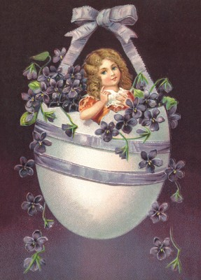 nostalgische Präge - Postkarte - Mädchen im Ei