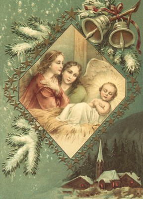 nostalgische Präge - Postkarte - Jesus mit 2 Engel