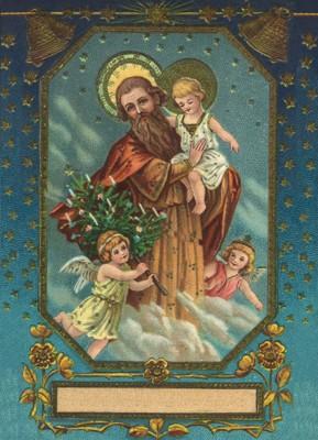 nostalgische Präge - Postkarte - Josef mit Jesus u